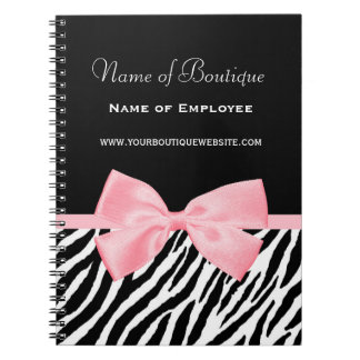 Chic Zebra Print Boutique Light True Pink Ribbon Notebook