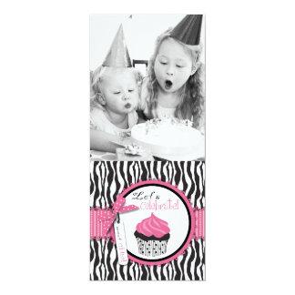 Chic Zebra Print & Cupcake Birthday Photo Template Card
