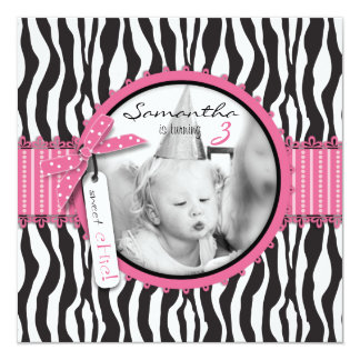 Chic Zebra Print & Cupcake Birthday Photo Template Card