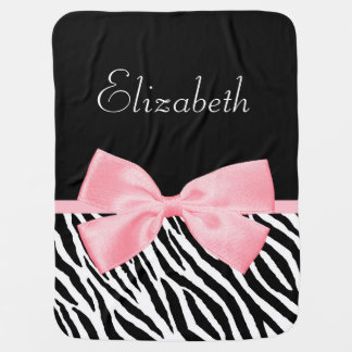 Chic Zebra Print Girly Light Pink Ribbon Baby Name Baby Blanket