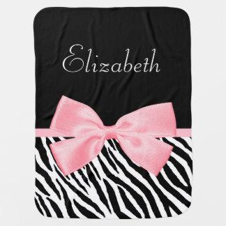 Chic Zebra Print Girly Light Pink Ribbon Baby Name Pramblanket
