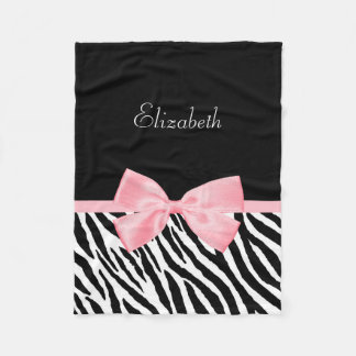 Chic Zebra Print Girly Light Pink Ribbon With Name Fleece Blanket