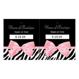 Chic Zebra Print Hang Tags Light True Pink Ribbon Business Card