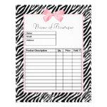Chic Zebra Print Light True Pink Ribbon Order Form