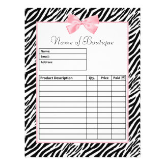 Chic Zebra Print Light True Pink Ribbon Order Form 21.5 Cm X 28 Cm Flyer