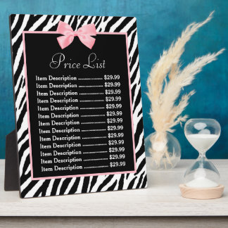 Chic Zebra Print Light True Pink Ribbon Price List Plaque