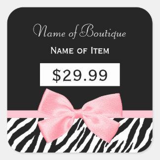 Chic Zebra Print Light True Pink Ribbon Price Tag Square Sticker