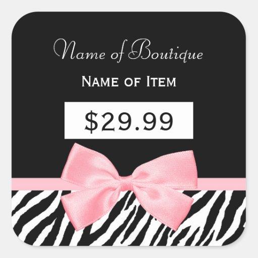 Chic Zebra Print Light True Pink Ribbon Price Tag Stickers