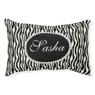 Chic Zebra Print Pattern Name Monogram Pet Bed