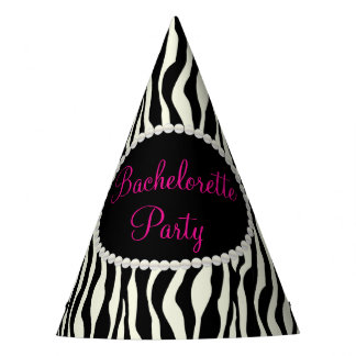 Chic Zebra Print Pearls, Bachelorette Party Hats