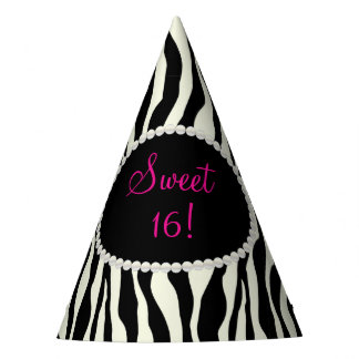 Chic Zebra Print Pearls Sweet 16 Party Hats