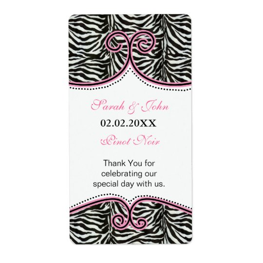 Chic Zebra Print Pink Personalised Wine label