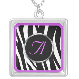 Chic Zebra Print Purple Monogram necklace