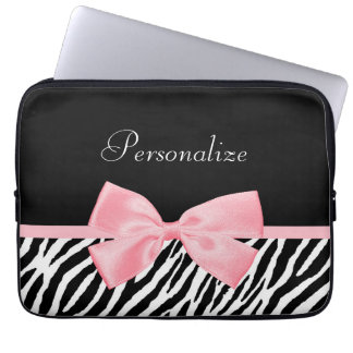 Chic Zebra Print Soft Girly Light Pink Ribbon Computer Sleeve