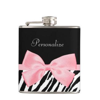 Chic Zebra Print Soft Girly Light Pink Ribbon Flasks