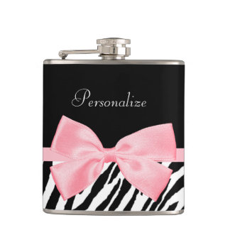 Chic Zebra Print Soft Girly Light Pink Ribbon Hip Flask