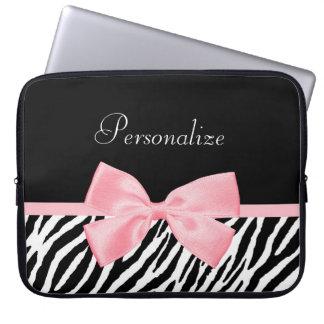 Chic Zebra Print Soft Girly Light Pink Ribbon Laptop Sleeve