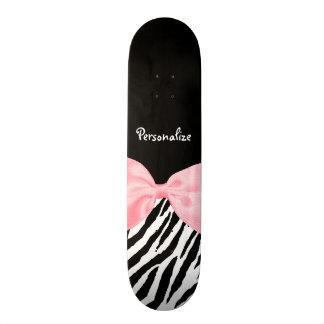 Chic Zebra Print Soft Girly Light Pink Ribbon Skate Boards