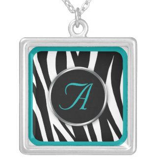 Chic Zebra Print Teal Monogram necklace