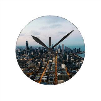 Chicago aerial view round clock