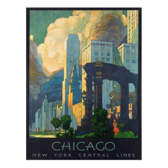 Chicago America Vintage Travel Poster Postcard