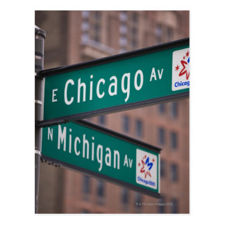 Chicago and Michigan Avenue signposts, Chicago, Postcard