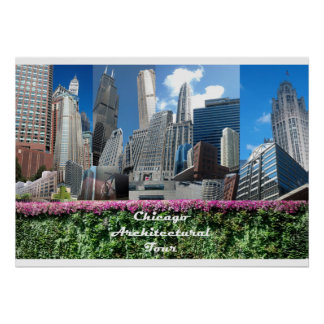 Chicago Architectural Tour Skyline Poster
