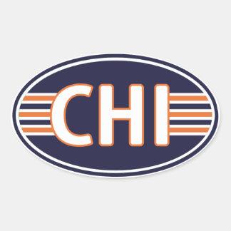 Chicago Blue and Orange Oval Sticker