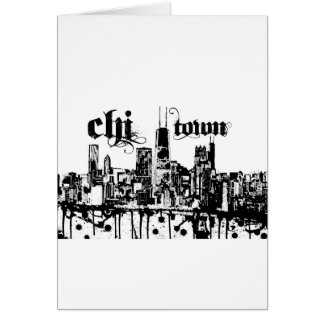"Chicago ""chi-town"" put on for your city greeting card"