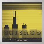 Chicago city graphic sundown and sunset graphic poster