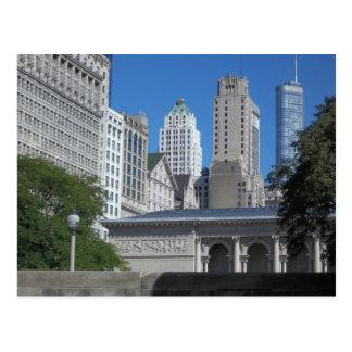 Chicago city scene postcard