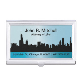 Chicago City Skyline Personalize Business Card Case