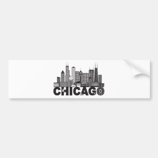 Chicago City Skyline Text Black and White Bumper Sticker
