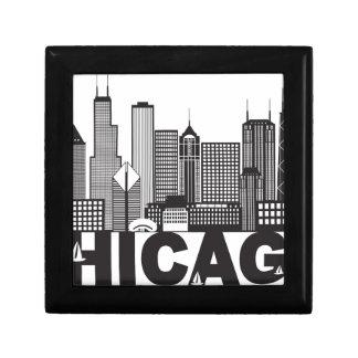 Chicago City Skyline Text Black and White Gift Box