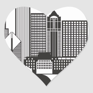 Chicago City Skyline Text Black and White Heart Sticker