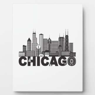 Chicago City Skyline Text Black and White Plaque
