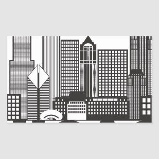 Chicago City Skyline Text Black and White Rectangular Sticker