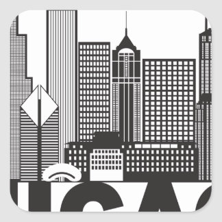 Chicago City Skyline Text Black and White Square Sticker