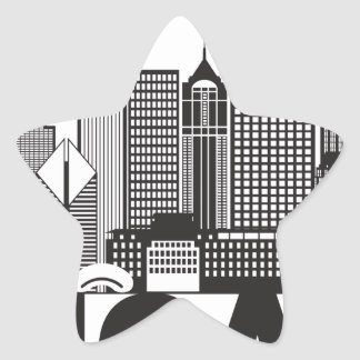 Chicago City Skyline Text Black and White Star Sticker