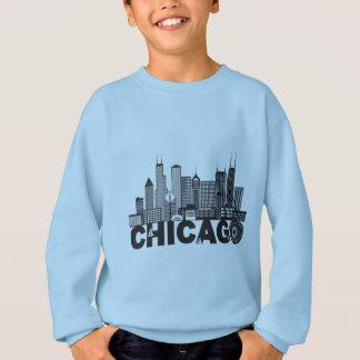Chicago City Skyline Text Black and White Sweatshirt