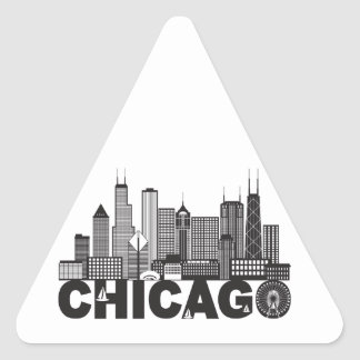 Chicago City Skyline Text Black and White Triangle Sticker