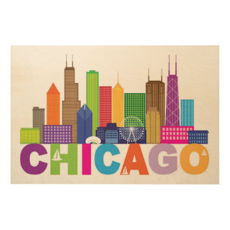 Chicago City Skyline Typography Wood Wall Art