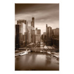 Chicago City View Afternoon BW Photo Print