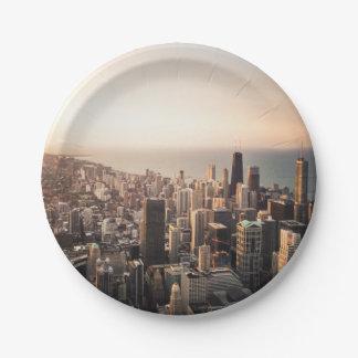 Chicago cityscape 7 inch paper plate