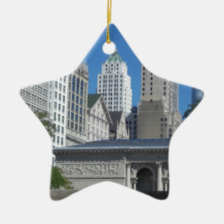 Chicago cityscape ceramic star decoration