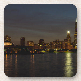 Chicago Cityscape Night Coaster