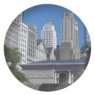 Chicago cityscape plates