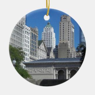 Chicago cityscape round ceramic decoration