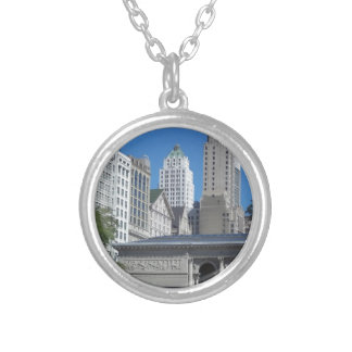 Chicago cityscape silver plated necklace