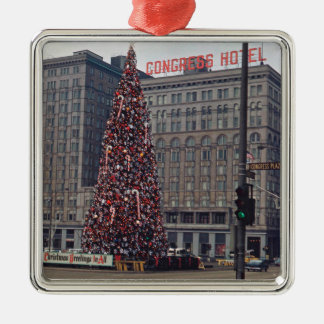 Chicago Congress Hotel Christmas Tree 1963 Photo Metal Ornament